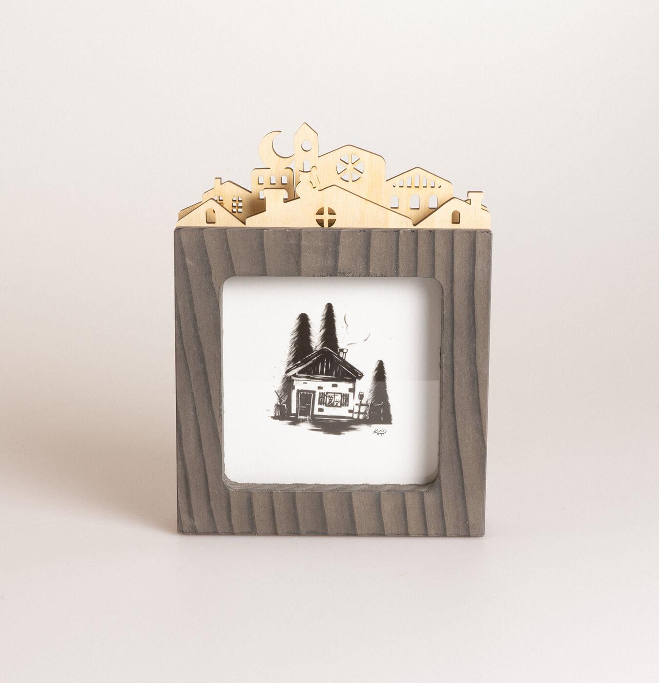 Cornice quadrata in legno di abete
