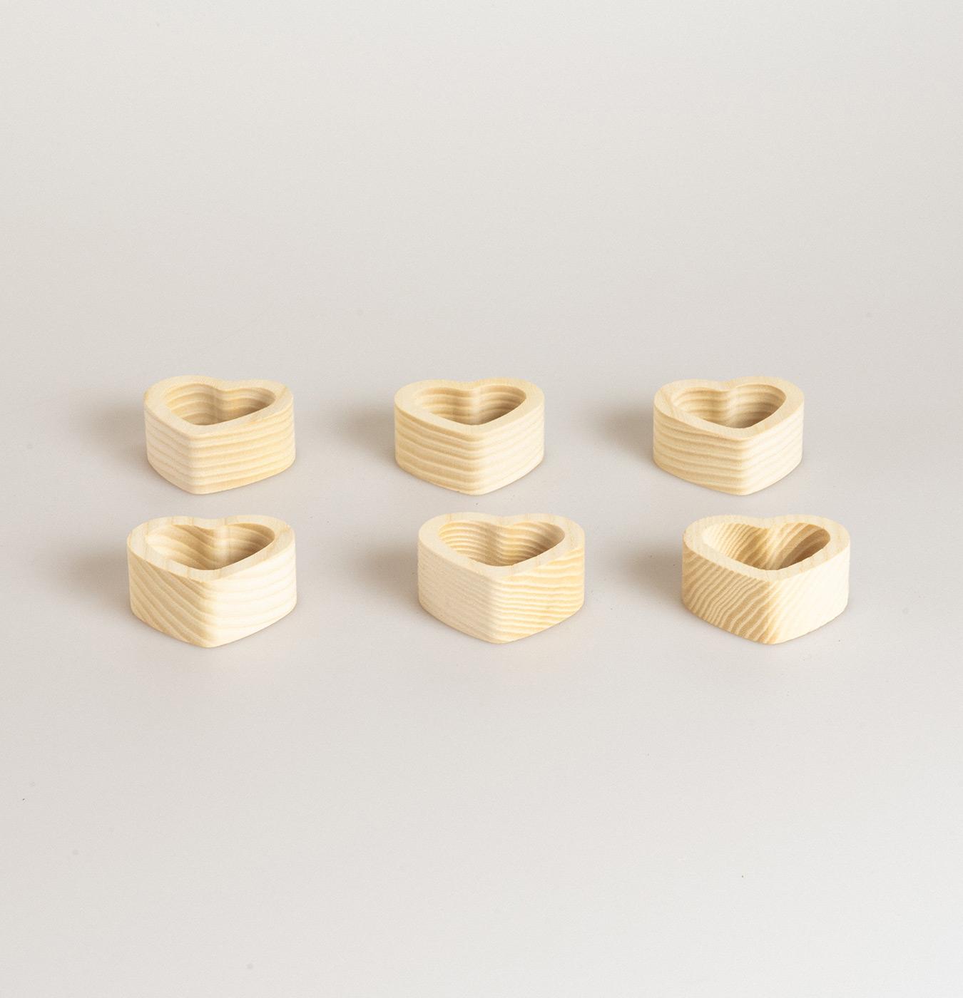 Legatovaglioli a forma di cuore in legno di faggio