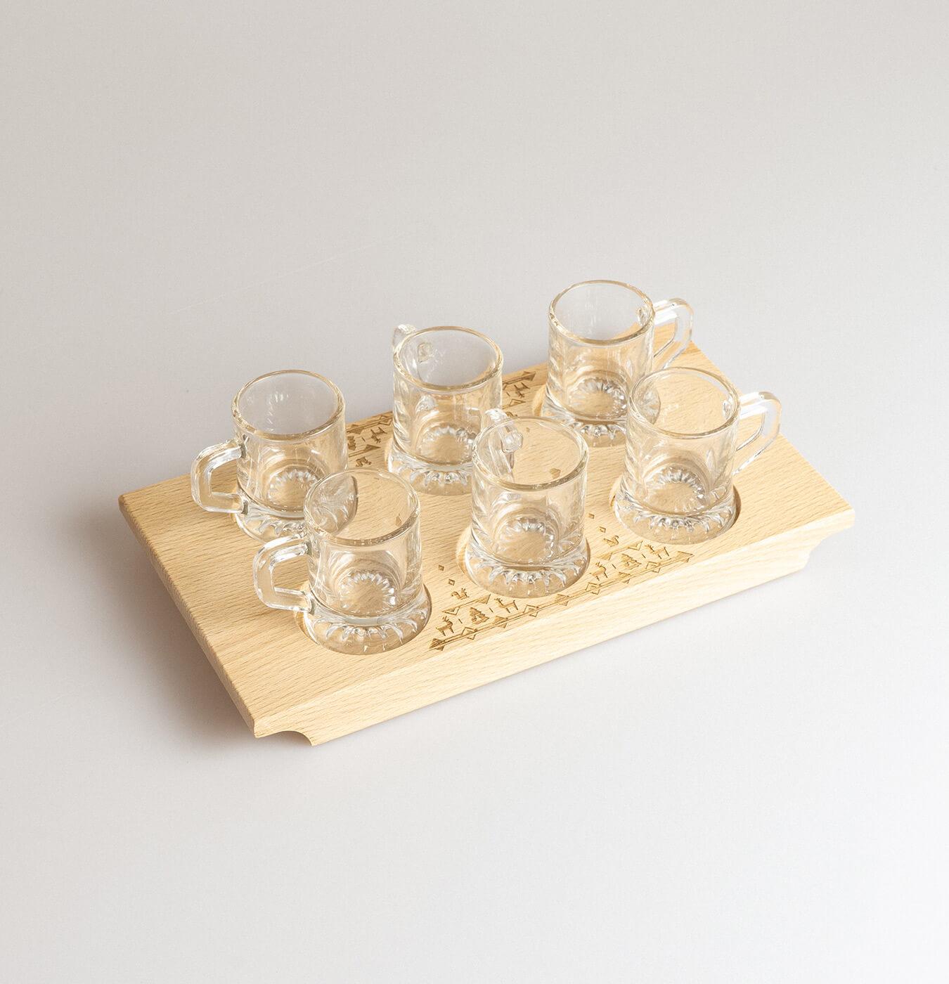 Portabicchierini vassoio per 6 bicchierini con decorazione incisa