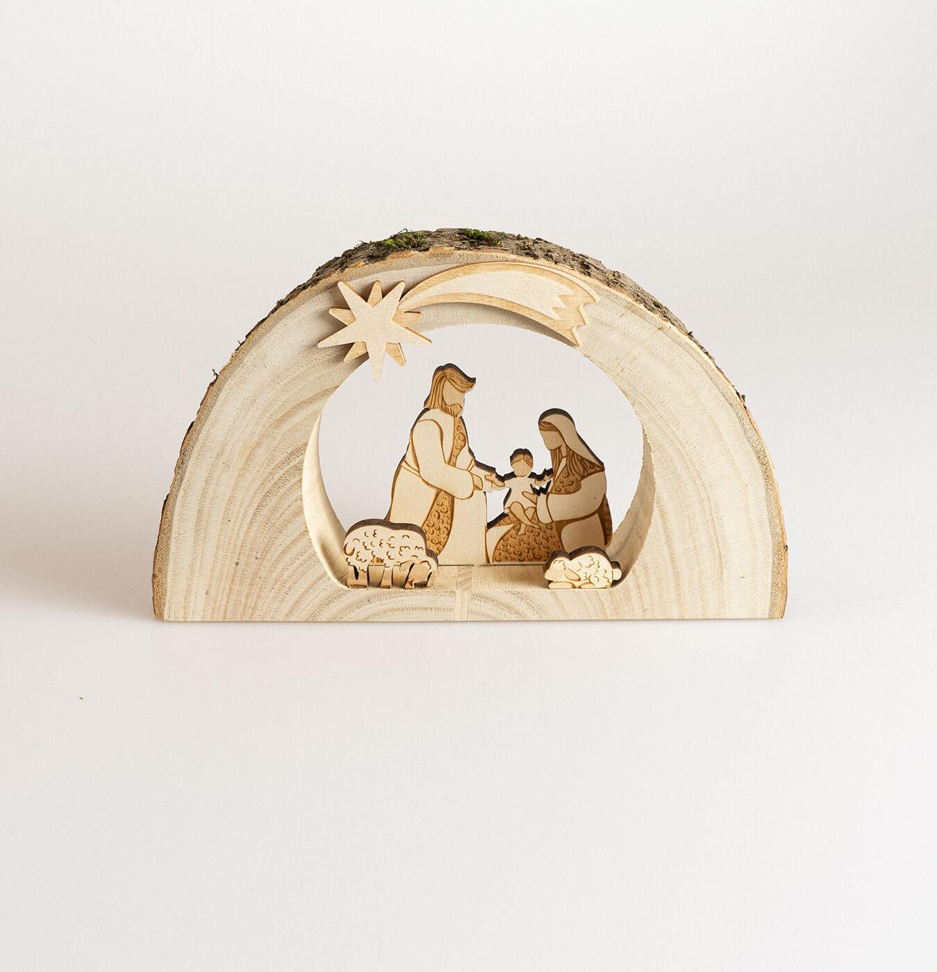 Presepe grotta in legno di castagno