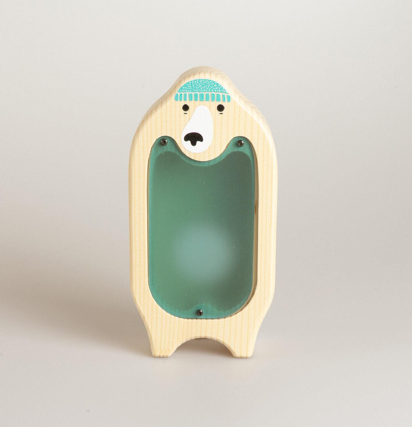 Salvadanio in legno di abete con stampa orsetto