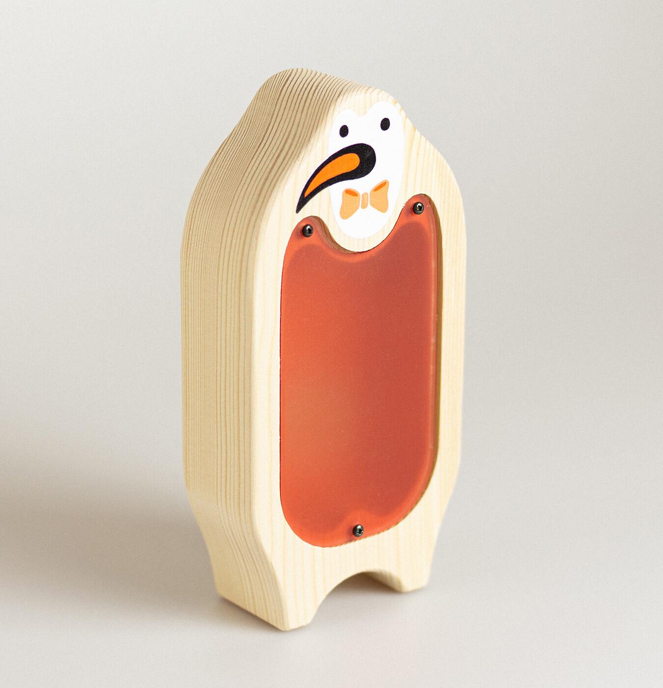 Salvadanio in legno di abete con stampa pinguino