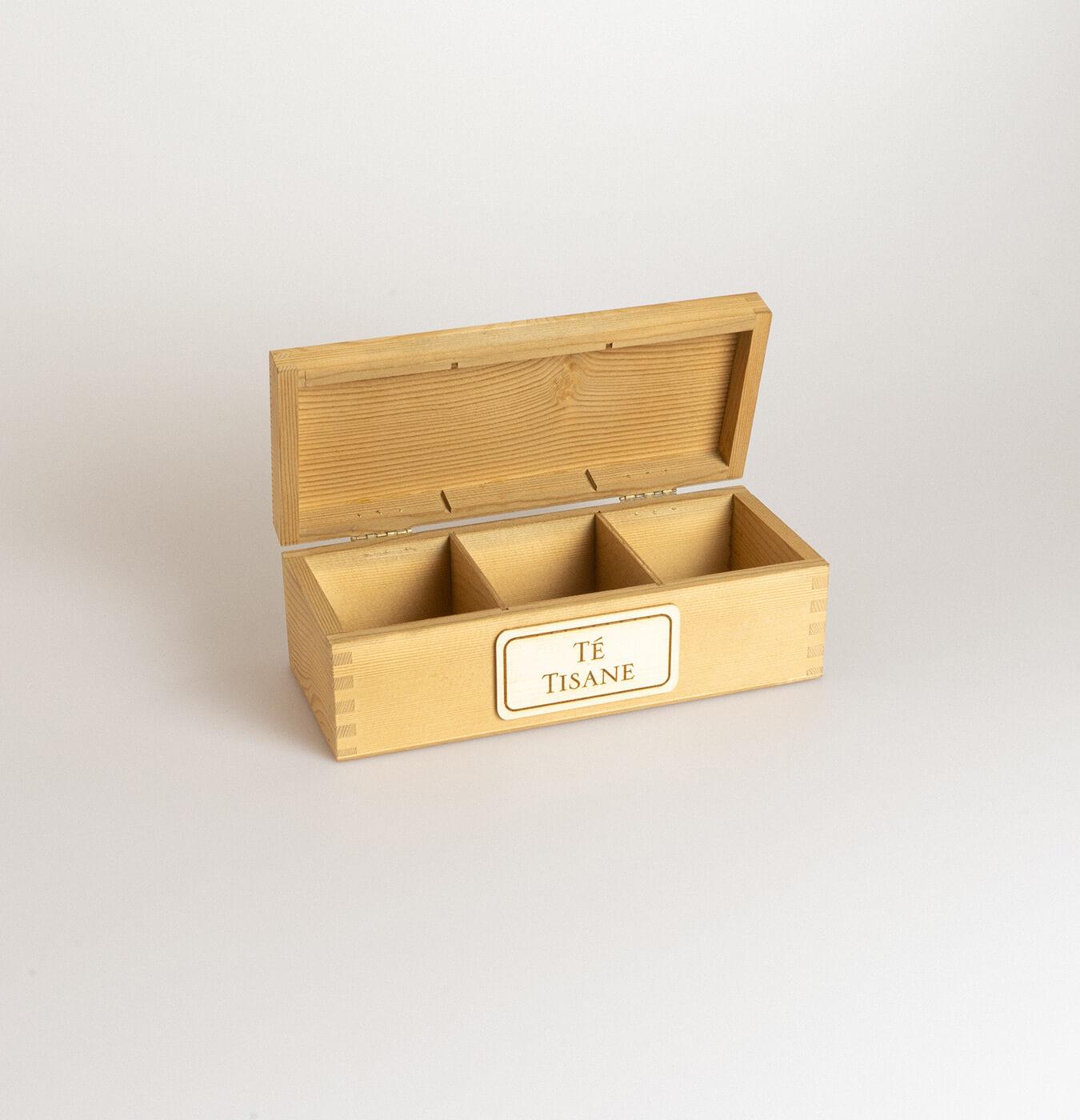 Scatola tè in legno di abete con 3 scomparti