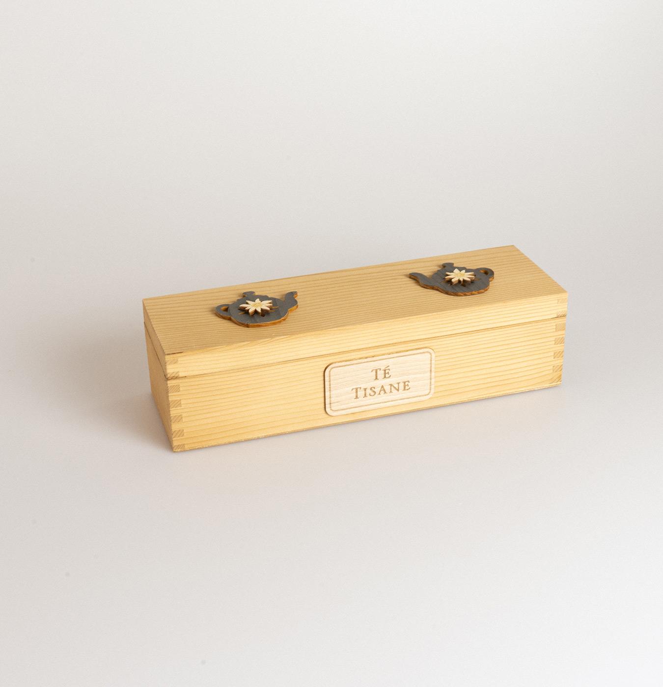 Scatola tè in legno di abete con 4 scomparti