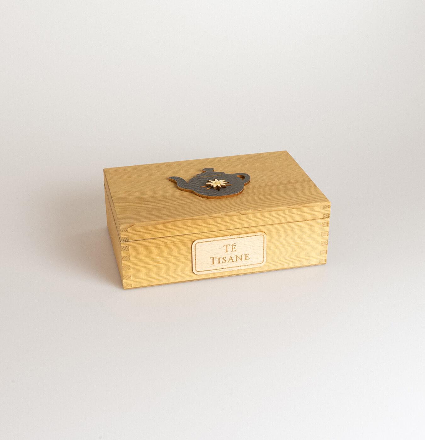 Scatola tè in legno di abete con 6 scomparti