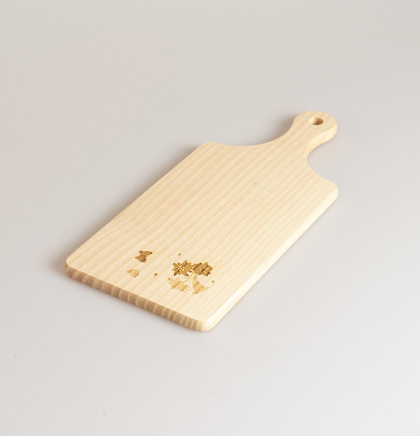 Tagliere con manico 27x12 cm con disegno inciso
