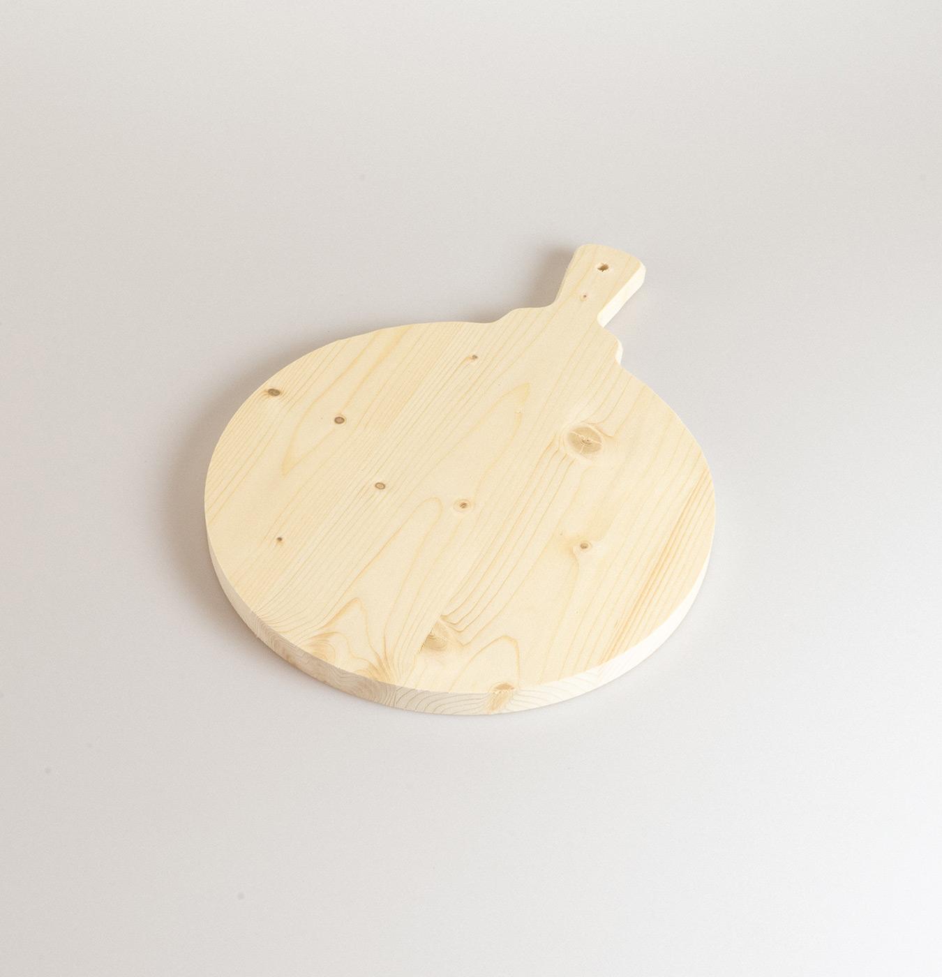 Tagliere polenta con manico diametro 35 cm in legno di abete