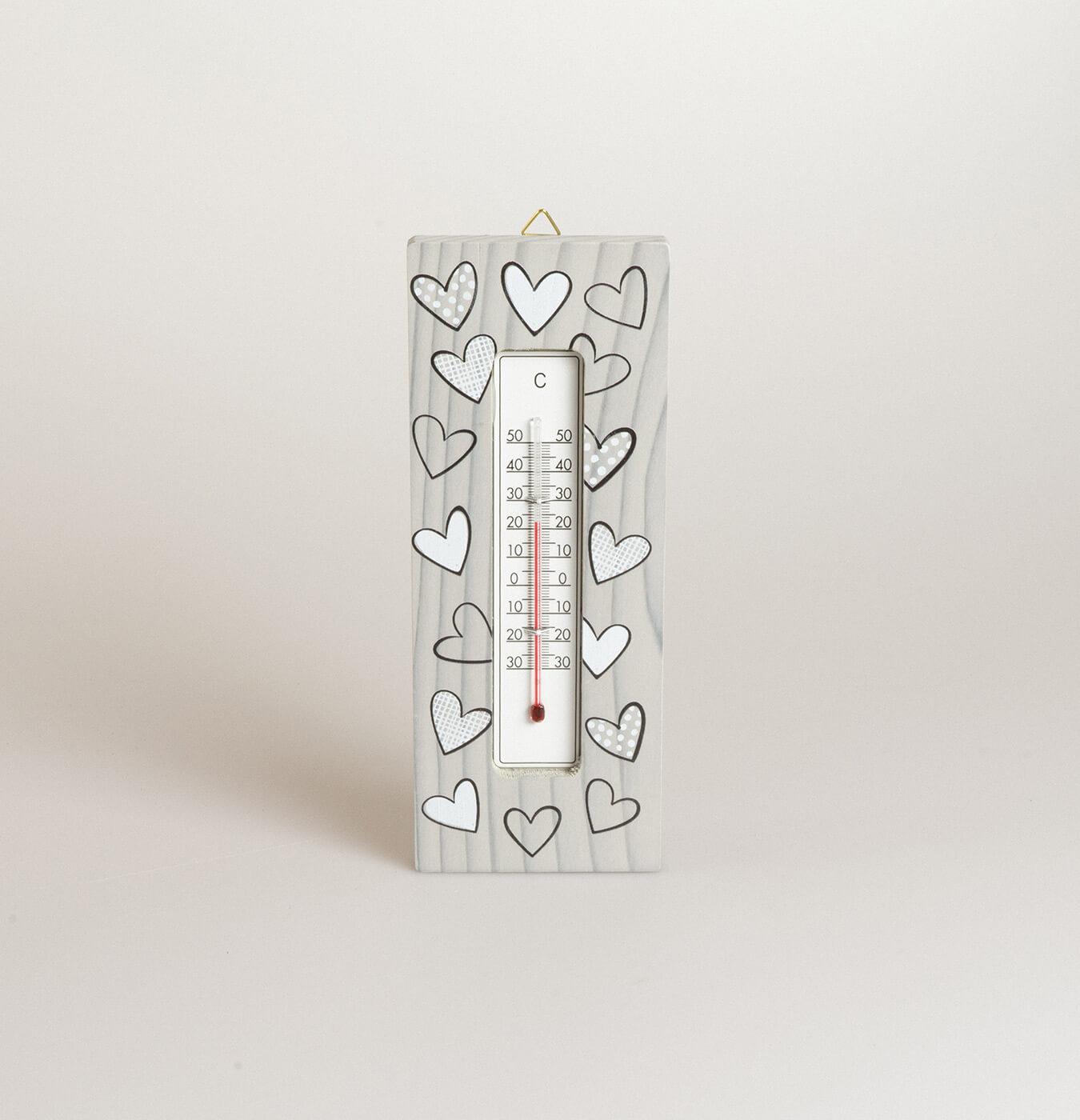 Termometro rettangolare in legno di abete
