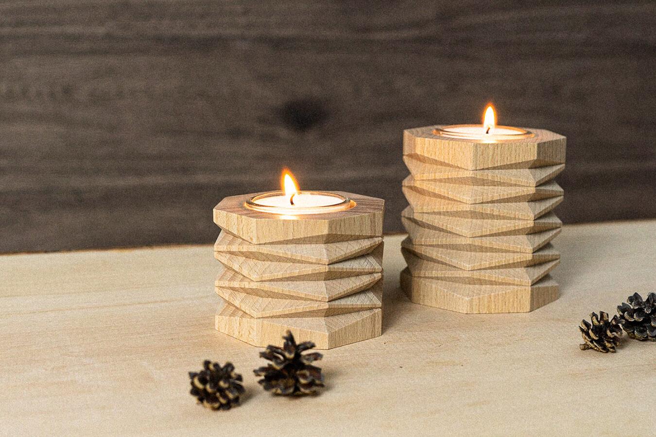portacandele in legno di faggio