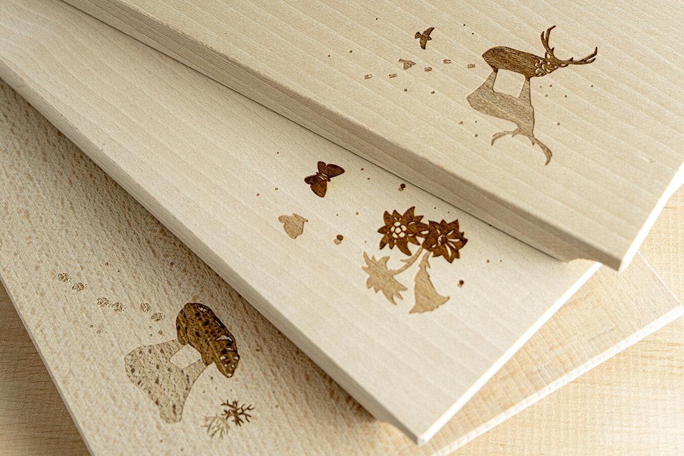 Taglieri in legno di faggio con incisione a laser