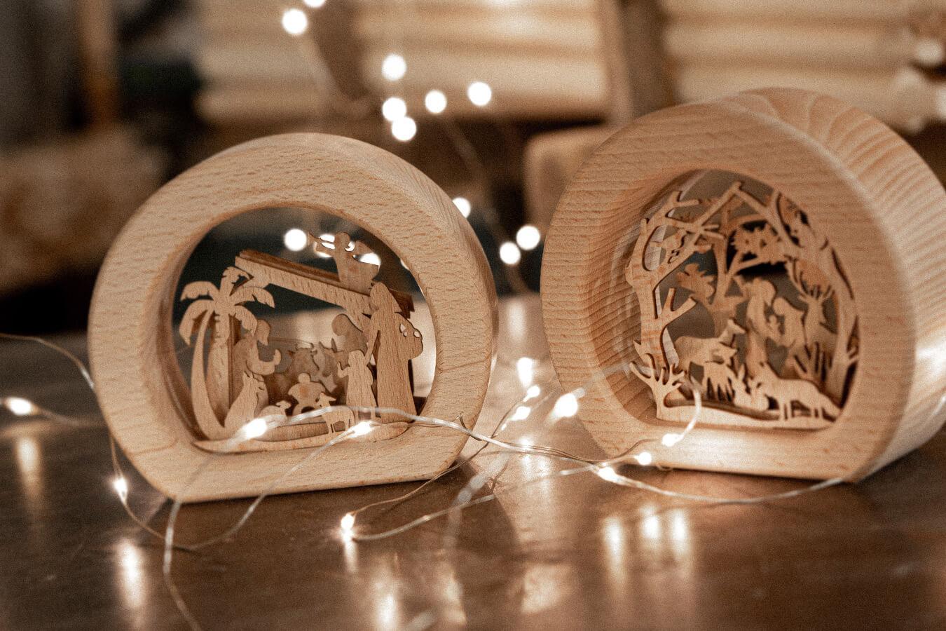 presepe natività in legno di faggio