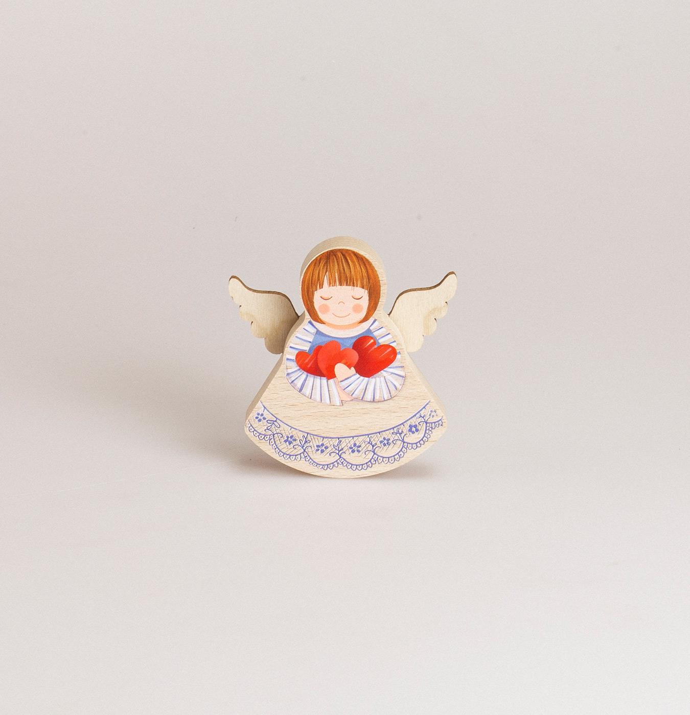 Decorazione da appoggio angioletto a dondolo in legno di faggio con stampa colorata
