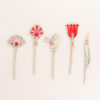 Set fiori in legno con stampa colorata
