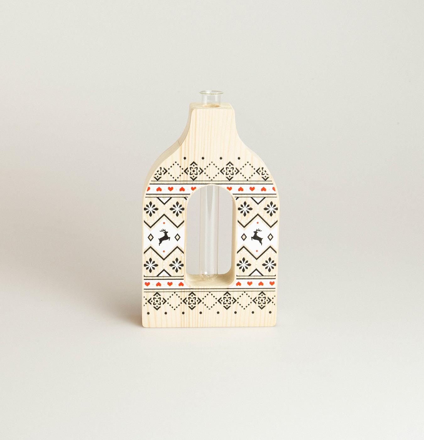 Portafiore in legno di abete stampato con fialetta in vetro per fiore